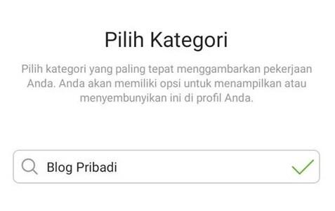 kategori profil bisnis instagram