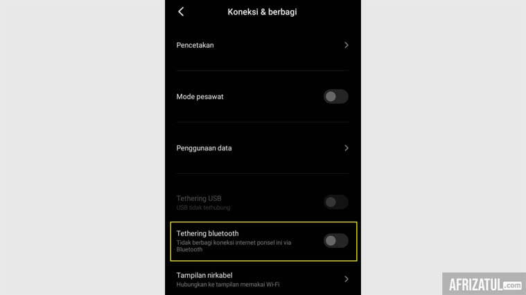 cara tethering bluetooth dari hp ke laptop