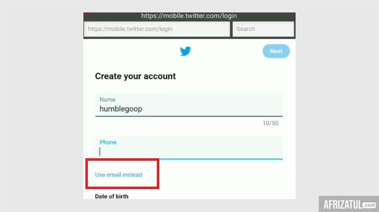 cara membuat twitter tanpa nomor hp