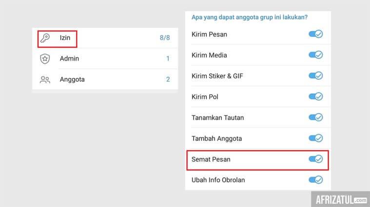 cara menyematkan pesan di grup telegram
